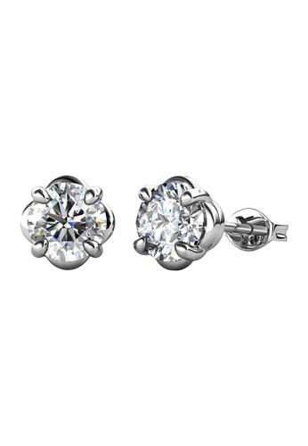 Her Jewellery silver CELÈSTA Moissanite Diamond - La Rose Earrings (925 Silver with 18K White Gold Plating) by Her Jewellery 613F7AC231B9E6GS_1