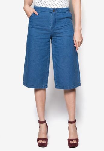丹寧寬管五分褲, 服zalora 台灣門市飾, 服飾
