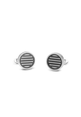 Maverick & Co. black and silver Maverick & Co. Oculus Cufflinks  - Silver/Black 51393AC7629450GS_1