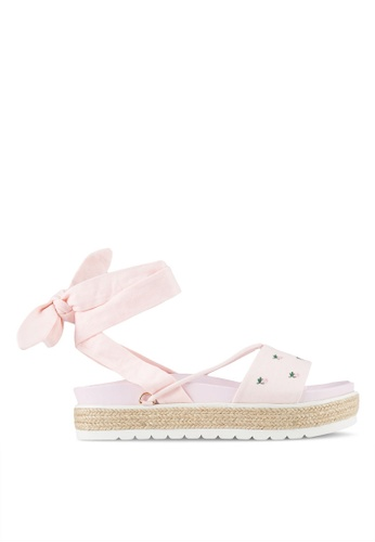 Something Borrowed pink Lace Up Espradrille Sandals AE3EFSH0D7E643GS_1