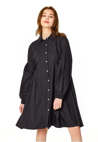 London Rag black Black Long Womens Pleated Shirt Dress A5F76AAB942372GS_1