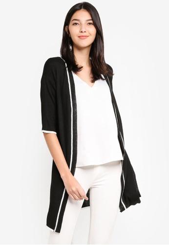 ZALORA black and multi Contrast Trim Longline Knit Cardigan 89A0BAA7CEECDFGS_1
