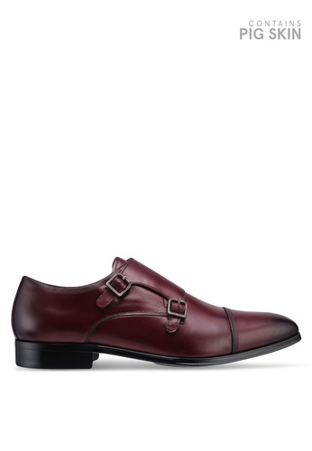 Dune London red Pyramid Lazer Toecap Monk Strap Shoes 82E0ASH200BF4DGS_1
