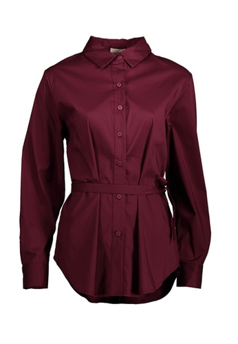 Kashieca red Button Down Belted Top 807A2AA75F05D3GS_1