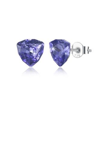 Glamorousky purple 925 Sterling Silver Simple Geometric Triangular Purple Austrian Element Crystal Stud Earrings F3528AC2CB9CF4GS_1