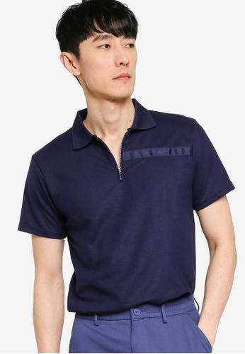 ZALORA BASICS navy Contrast Trim Half Zip Polo Shirt AA5CCAA89772F3GS_1