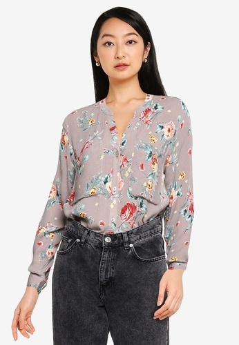 ZALORA BASICS grey and multi Long Sleeve Pocket Detail Blouse 629E7AA0C3B0F9GS_1
