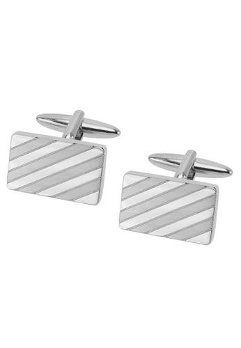 CUFF IT silver Shiny and Brush Silver Repp Stripe Rectangle Cufflinks CU047AC2UQ7AHK_1