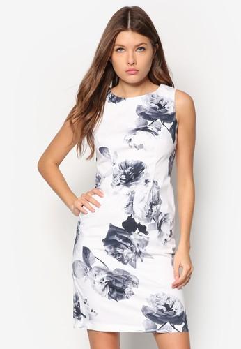 Petite 單色印花直筒連身裙,esprit part time 服飾, 洋裝