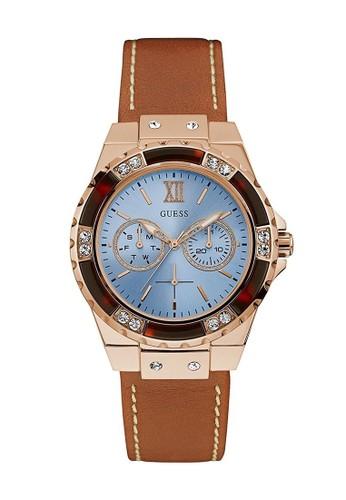 Guess Watch brown Guess Jam Tangan Wanita - Brown Rosegold Blue - Leather Strap - W0775L7 AC503AC2F674F6GS_1
