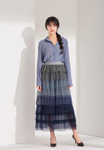 Zafiti blue Puffball Skirt 8132FAAD27BBDAGS_1