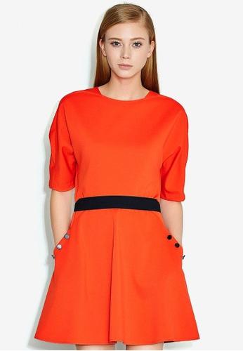 Hopeshow red Waist Striped Dress E2AB1AA4CC9D9FGS_1