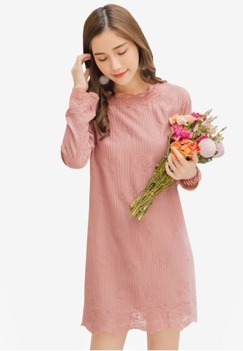 Yoco pink Floral Embroidered Dress 42B9FAA9592D2BGS_1