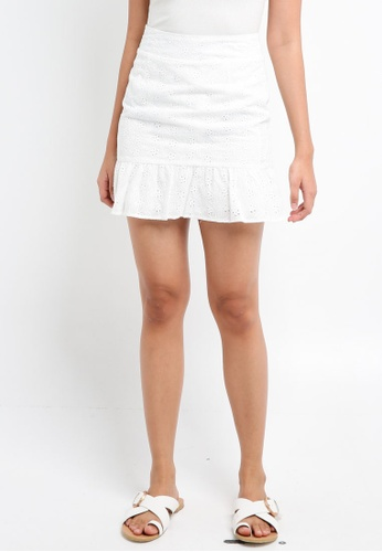 Something Borrowed white Embroidered Fluted Hem Skirt 04D18AA7487BCBGS_1