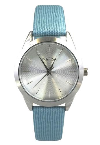 Chronomart blue and silver Nafisa Dial Space Silver Quartz Shinning Blue Fabric Strap Wrist Watch CH783AC75QXCPH_1
