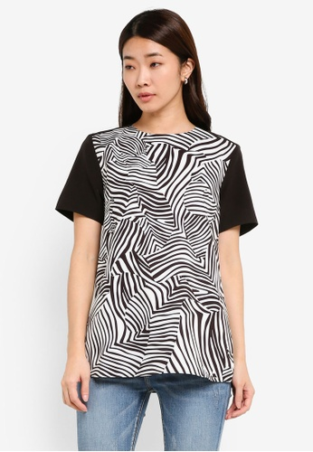 ZALORA black Printed Front Panel Top 1163CAA1439EE4GS_1