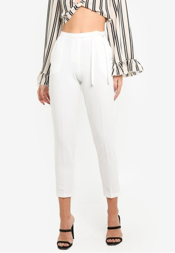 MISSGUIDED white Tie Belt Crepe High Waist Trousers AC82CAADD11748GS_1