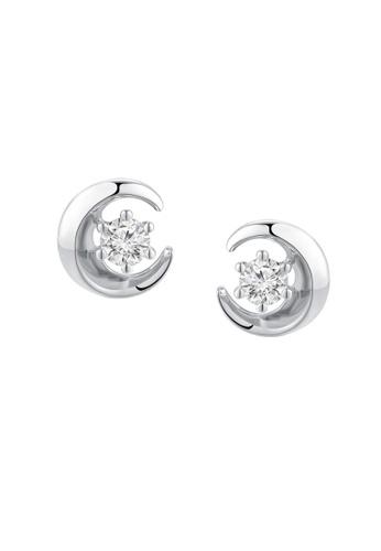 MaBelle silver Leo Diamond 18K/750 White Gold Diamond Moon Earrings 3E022AC50A2FB3GS_1