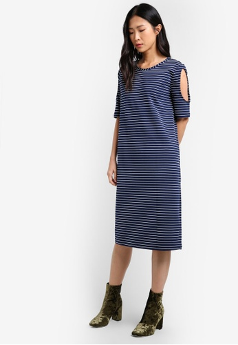 Mango blue and navy Striped Cold-Shoulder Dress MA193AA0RXSDMY_1
