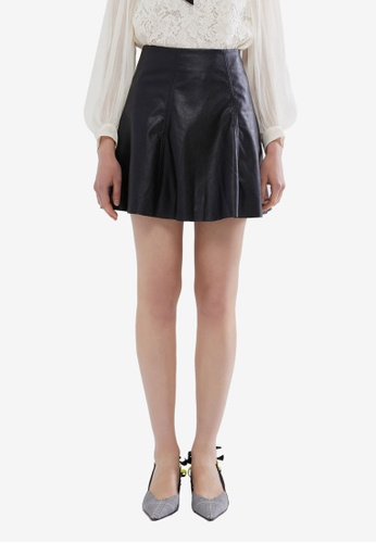 Hopeshow black PU Leather Flare Mini Skirt E1386AAE07BFEEGS_1