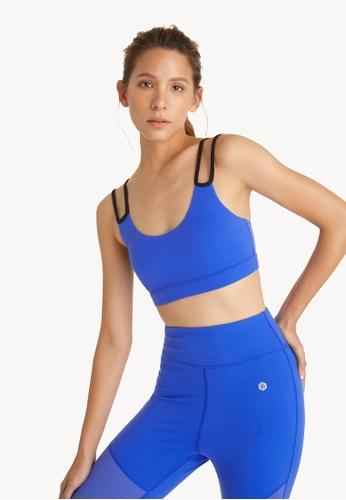 Pomelo blue Double Strap Sports Bra - Blue 54916US4F2F0C9GS_1