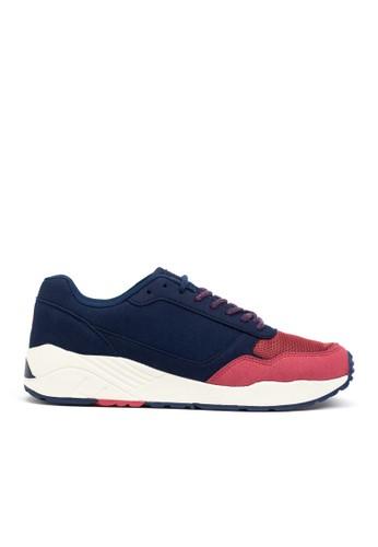 撞色超細纖維復古跑鞋,esprit分店地址 鞋, 運動鞋