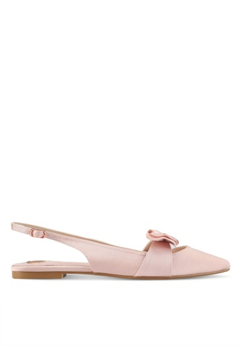Velvet pink Bow Accent Sling Back Flats DAA8FSH0D55CCCGS_1