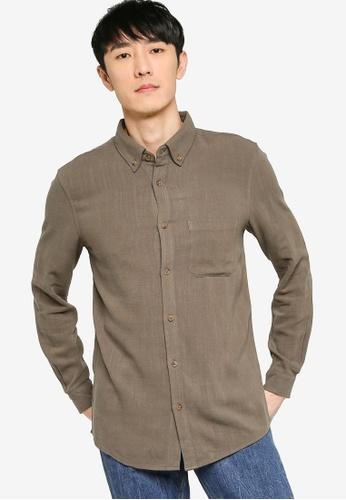 ZALORA BASICS green Regular Button Down Linen Blend Shirt 372C9AACCA7966GS_1
