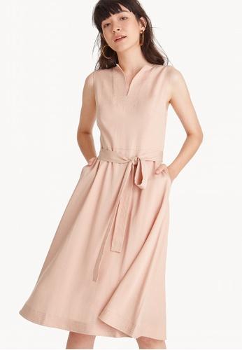 51e2b0acff Pomelo pink Premium Polyester Midi Waist Tie Dress - Apricot  2E67FAAF326A3EGS 1