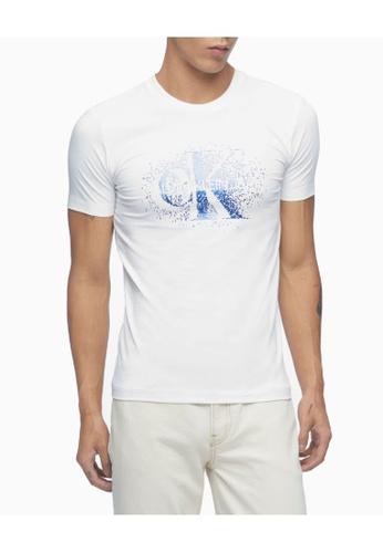 Calvin Klein 白色 Calvin Klein CK Men CK Men Spray Logo 貼身上衣 404BCAAAECC381GS_1