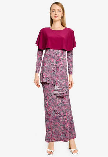 Midi Kurung Peplum Shoulder Cape from Zuco Fashion in Pink