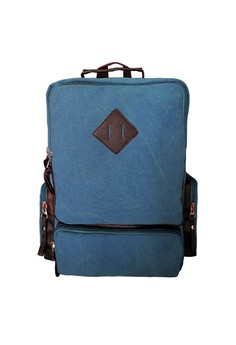 Canvas Backpack with Diamond Patch