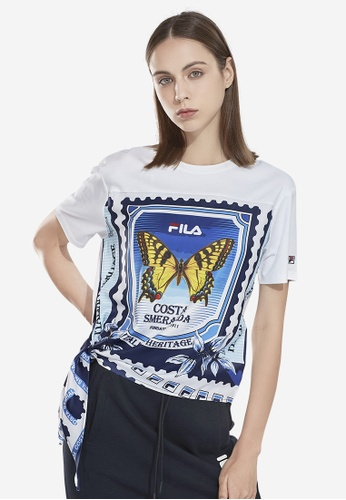 FILA white Butterfly Theme Printed T-shirt With Asymmetric Hem 48781AAD1DE75AGS_1