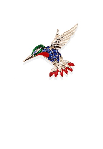 Glamorousky silver Fashion Personality Plated Gold Enamel Color Woodpecker Brooch A3295ACE3EEB58GS_1