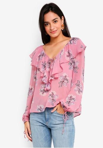 TOPSHOP pink Floral Ruffle Blouse 1C49DAA8795D78GS_1