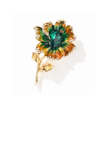 Glamorousky green Fashion and Elegant Plated Gold Flower Brooch with Green Cubic Zirconia 93BFAACD9D0E3CGS_1
