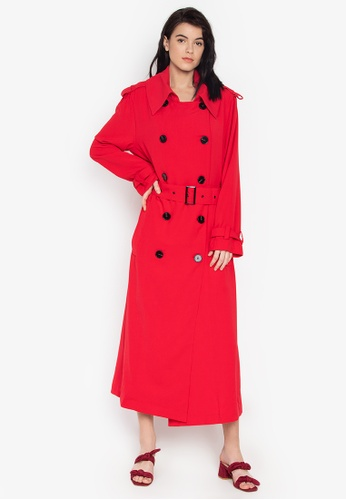 the___edit red Marguerite Trench Coat 52553AA849CF8EGS_1