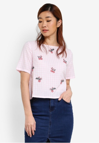 ZALORA pink Gingham & Embroidered Top F9537AA9241716GS_1