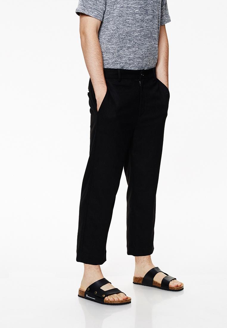 Life8 With Trouser Capri Black Casual Elastic Band 02428 Pant Black 1P8tTaq