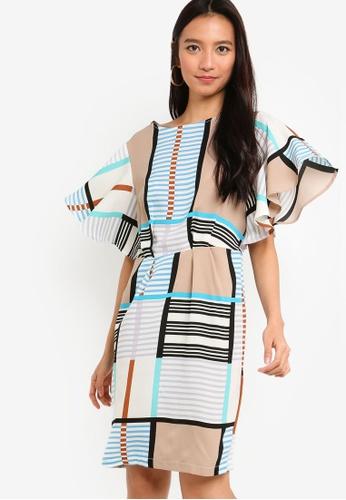 ZALORA white and multi Flare Sleeves Sheath Dress 24A01AA2641ED6GS_1