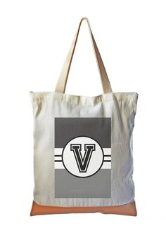 Tote Bag Monochrome Sporty Initial V