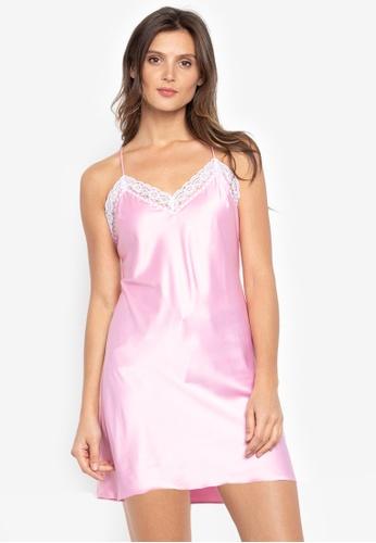 moondaze pink Kaya 100% Charmeuse Satin Chemise 746CAAAD310CE0GS_1