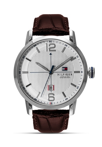 Tommy Hilfiger Watches white and brown and silver Men's Leather Strap Watch TO959AC0J719PH_1