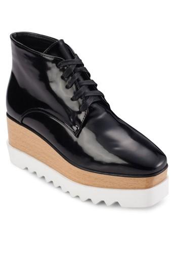 繫帶木質混合厚esprit台灣outlet底短靴, 女鞋, 靴子
