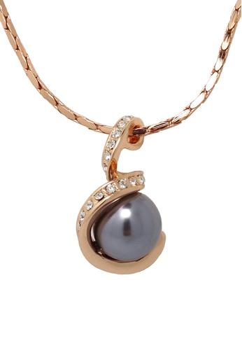 Jaysa Collection gold Black Pearl Swirl Necklace JA875AC0F9MLSG_1
