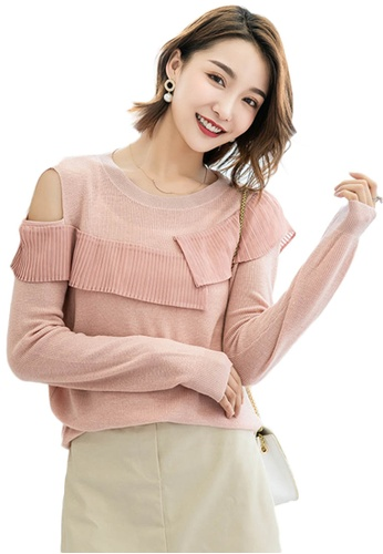 Sunnydaysweety pink Off Shoulder Mesh Crew Neck Sweater A092201PI E8927AAA9CA397GS_1