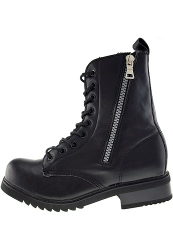 Maxstar 黑色 新款韩国鞋303-Walker-Zip時尚皮革布混合女黑色 US Women Size MA345SH95HBCTW_1