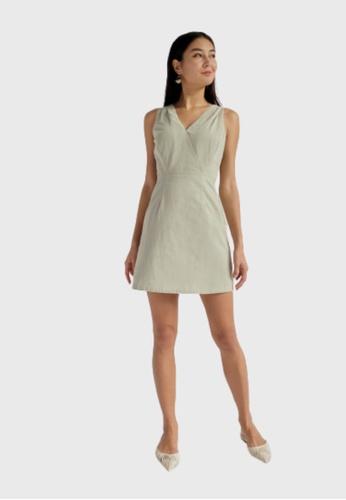 Love, Bonito green Lydia Cross Back A-line Dress 67A96AA2DD56F9GS_1