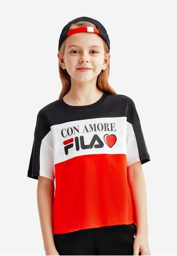 FILA navy FILA KIDS CON AMORE FILA Logo Color Blocks T-shirt 6-13yrs B1CAFKADDCC188GS_1