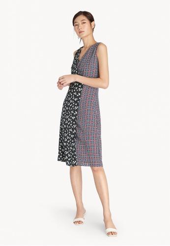 Pomelo black Midi Mixed Print Wrap Dress - Black 58C63AA60BB387GS_1
